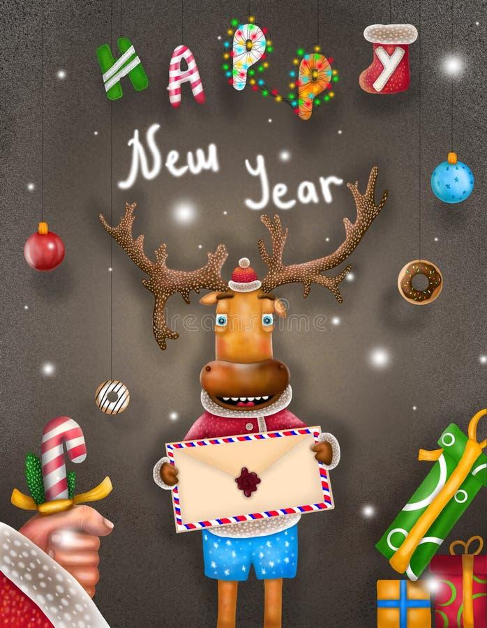Ano novo feliz do cartão com cervos ilustração royalty free
