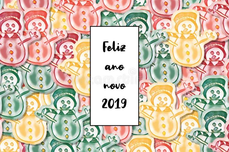 Ano novo feliz do cartão do novo 2019 do ano de Feliz no português com boneco de neve colorido como um fundo ilustração royalty free