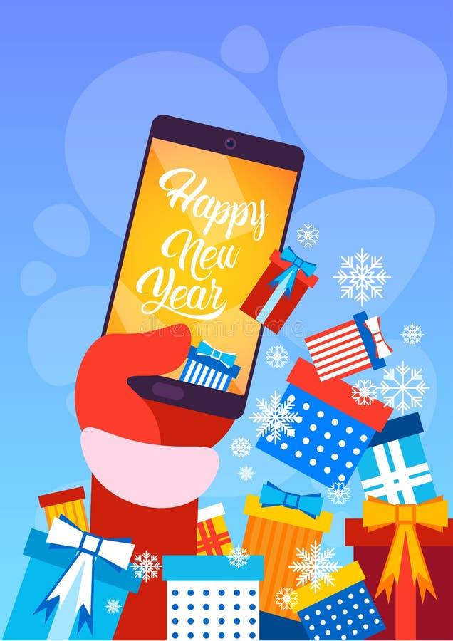Download Ano Novo Feliz Do Cartão Do Feliz Natal Do Telefone De Santa Claus Hand Hold Cell Smart Ilustração do Vetor - Ilustração de festive, feriado: 80101955