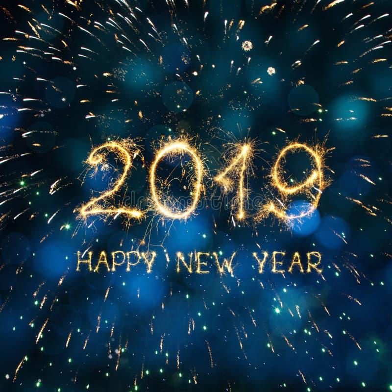 Ano novo feliz 2019 do cartão quadrado bonito imagens de stock