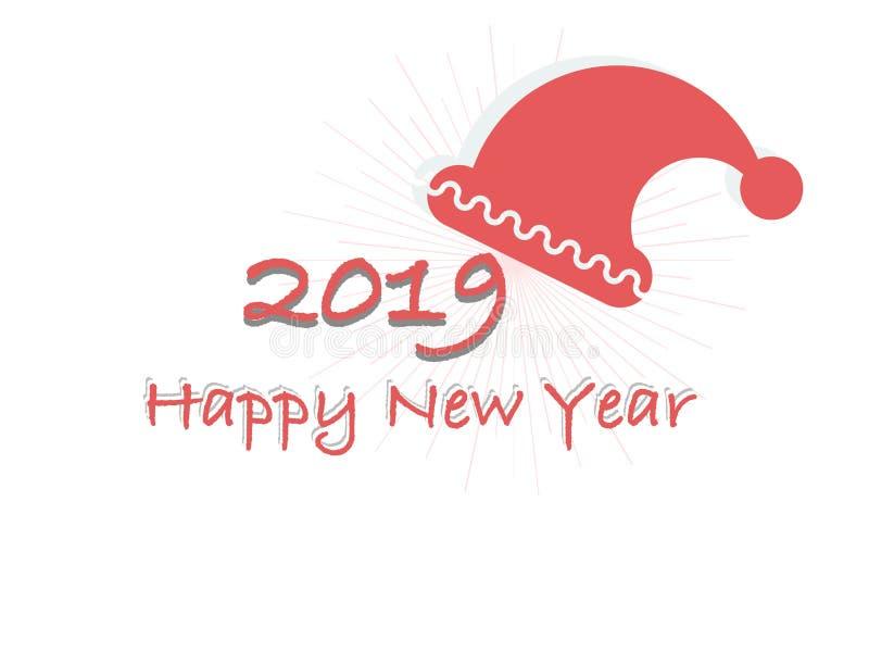 Ano novo feliz 2019 do cartão do vetor em um fundo branco ilustração do vetor