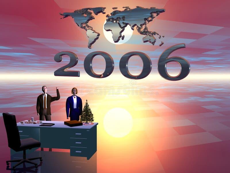 Ano novo feliz do escritório ilustração do vetor