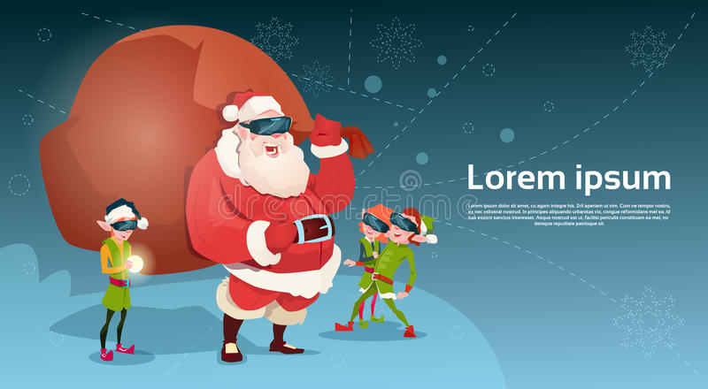 Download Ano Novo Feliz Do Feliz Natal Da Realidade Virtual Dos Vidros De Digitas Do Desgaste Do Grupo De Santa Clause And Green Elf Ilustração do Vetor - Ilustração de cartoon, novo: 80102234