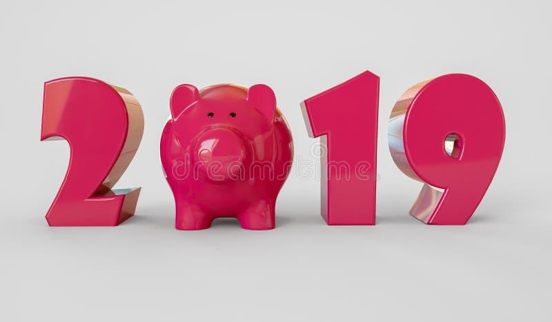 Ano novo feliz, 2019, ano do porco ilustração da rendição 3d ilustração royalty free