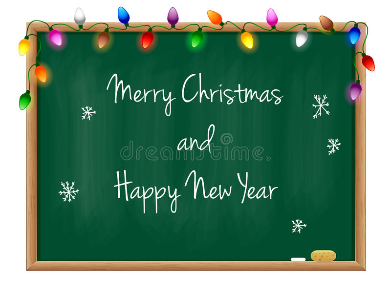 Ano novo feliz do quadro-negro imagens de stock