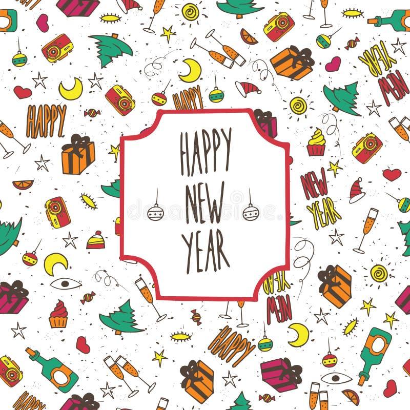 Ano novo feliz do teste padrão festivo ilustração do vetor