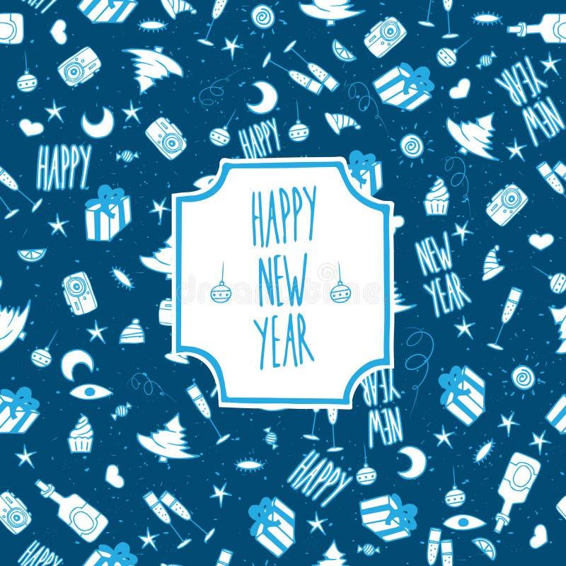 Ano novo feliz do teste padrão festivo ilustração royalty free