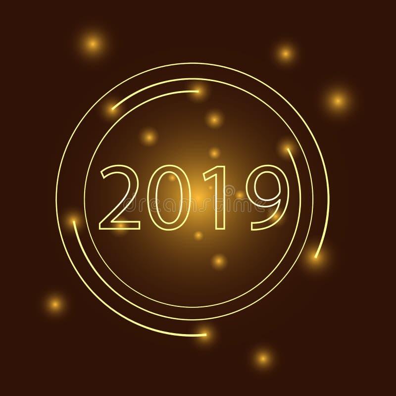 Ano novo feliz do texto 2019 luxuosos dourados do vetor Projeto festivo dos n?meros do ouro Bandeira do ano novo feliz com 2019 n ilustração stock