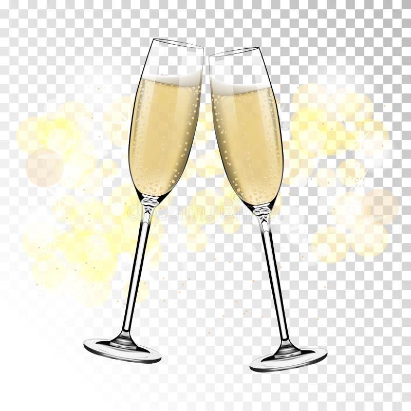 Ano novo feliz do vetor com brinde de vidros do champanhe no fundo transparente no estilo realístico Cartão ou ilustração do vetor
