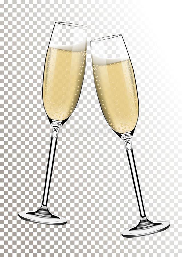 Ano novo feliz do vetor com brinde de vidros do champanhe no fundo transparente no estilo realístico Cartão ou ilustração stock