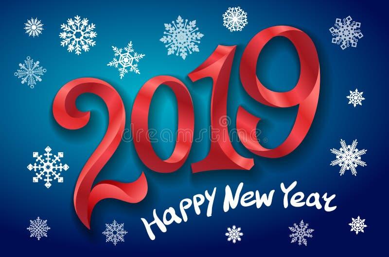 Ano novo feliz 2019 ano novo feliz 2007 Dois mil e dezenove grave o número vermelho no fundo azul Ilustração do vetor dos flocos  ilustração do vetor