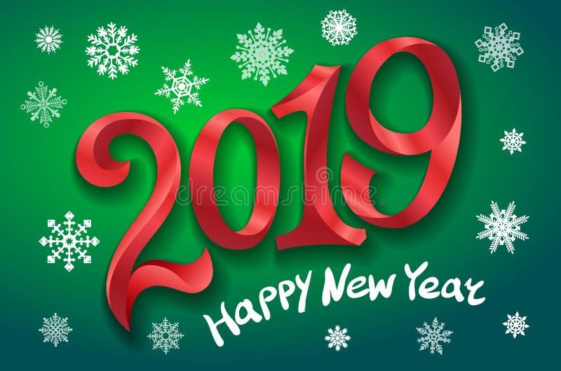 Ano novo feliz 2019 ano novo feliz 2007 Dois mil e dezenove grave o número vermelho no fundo verde Ilustração do vetor dos flocos ilustração do vetor