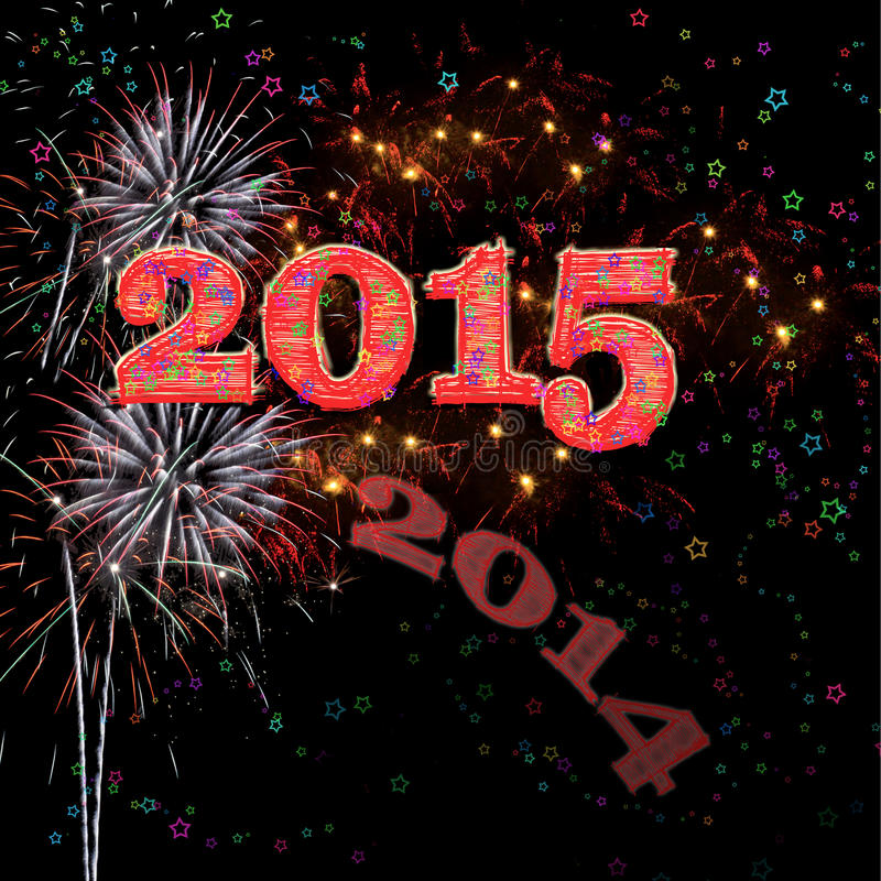 Ano novo feliz 2015 dos fogos-de-artifício ilustração do vetor