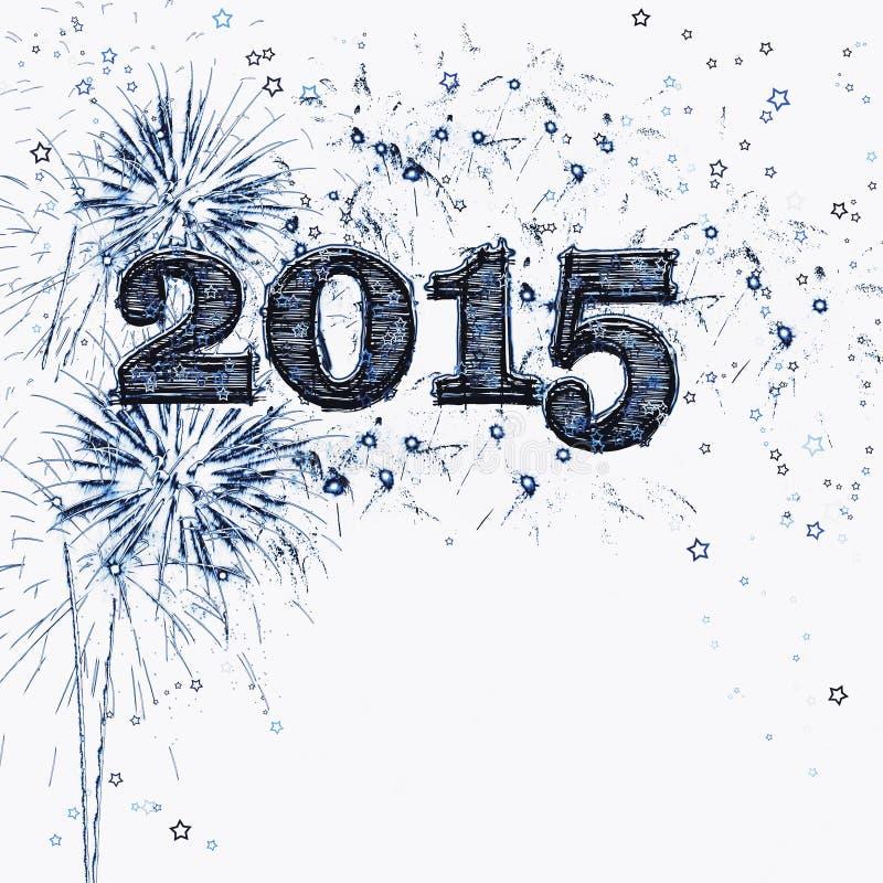 Ano novo feliz 2015 dos fogos-de-artifício e das estrelas ilustração stock