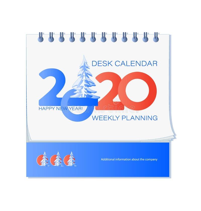 Ano novo feliz 2020 e abeto vermelho coberto de neve ilustração royalty free