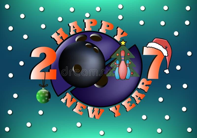 Ano novo feliz 2017 e bola de boliches ilustração stock