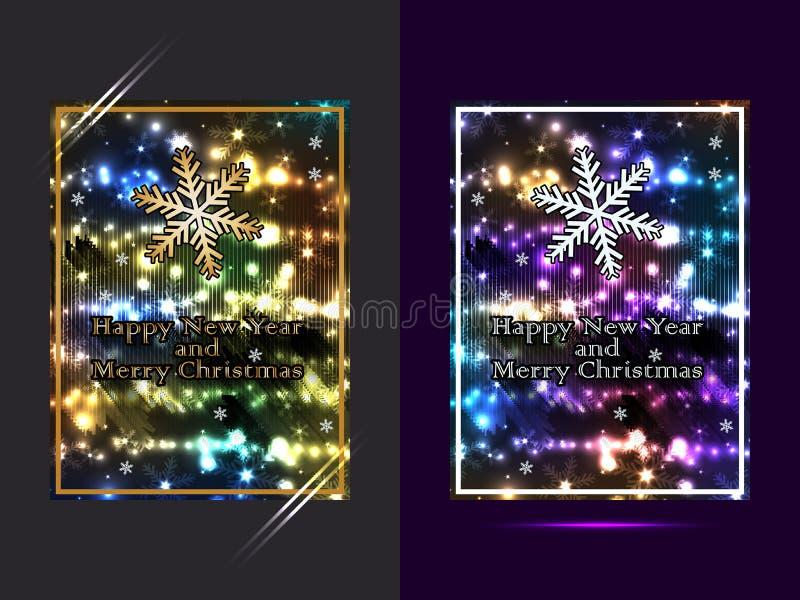 Ano novo feliz e grupo brilhante do Feliz Natal ilustração stock