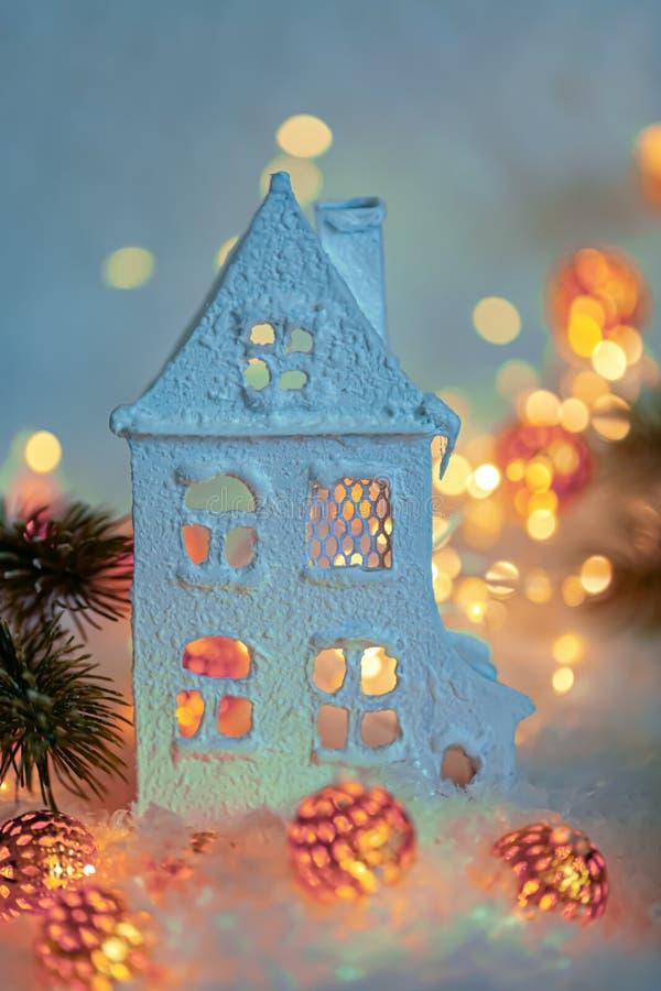 Ano novo feliz e Feliz Natal do cart?o Fundo bonito da decoração do inverno para o feriado Foco macio imagem de stock