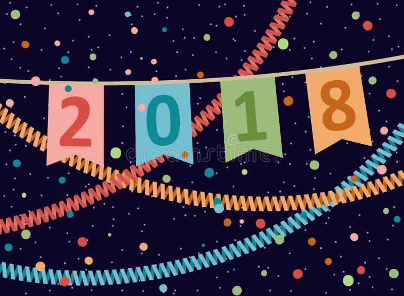 2018 Ano novo feliz e Natal Ilustração do vetor ilustração do vetor
