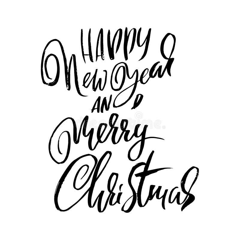 Ano novo feliz e Feliz Natal O feriado moderno seca a rotulação da tinta da escova para o cartão Ilustração do vetor ilustração stock