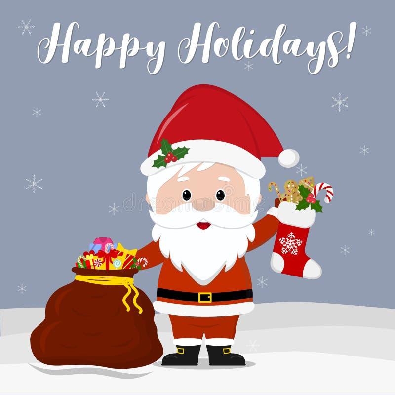 Ano novo feliz e Feliz Natal Santa Claus bonito que guarda uma peúga do Natal e um saco vermelho com os presentes no flocos de ne ilustração stock