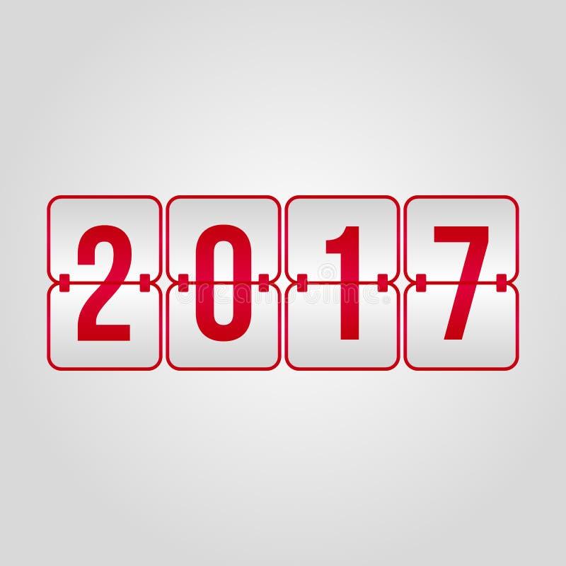 Ano novo feliz 2017 e vetor vermelho do placar do Feliz Natal sy ilustração stock