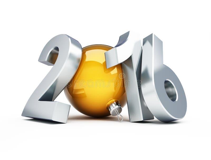 Ano novo feliz 2016 em um fundo branco ilustração do vetor