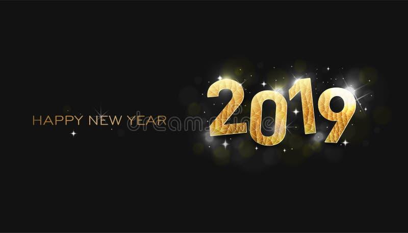 ano novo feliz 2007 Estrelas shinning do ano novo feliz 2019 ilustração royalty free