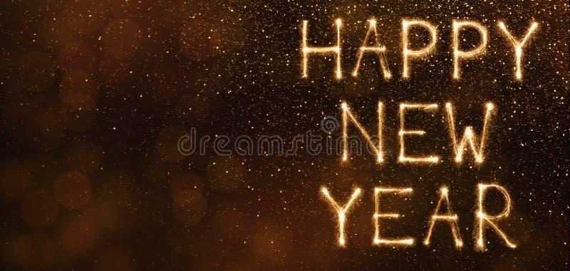 Ano novo feliz feito dos sparkles no fundo marrom ilustração stock