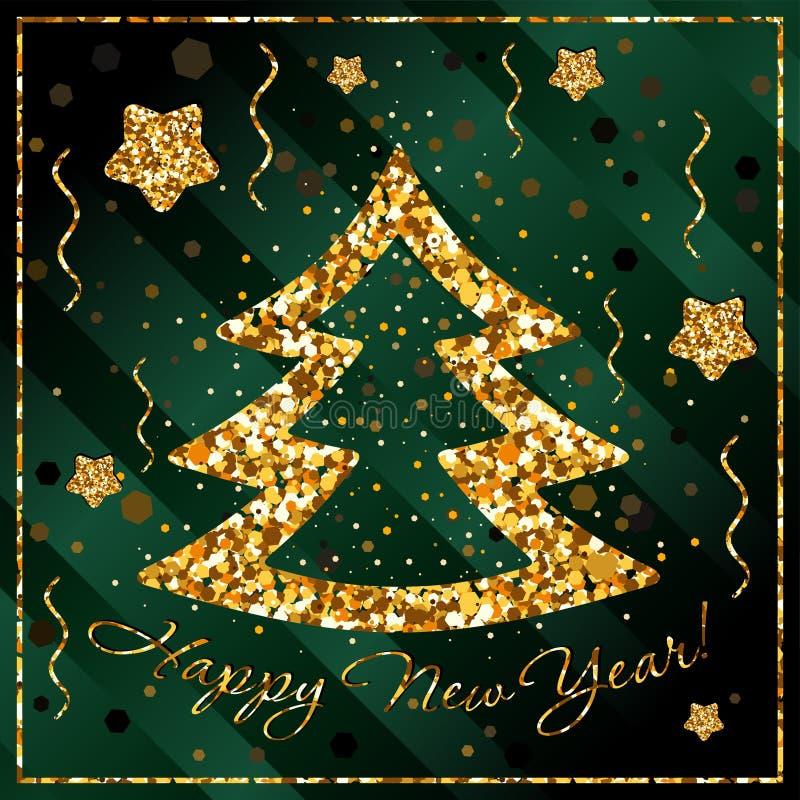 Ano novo feliz, felicitações com árvore de Natal e estrelas de confetes do ouro ilustração royalty free