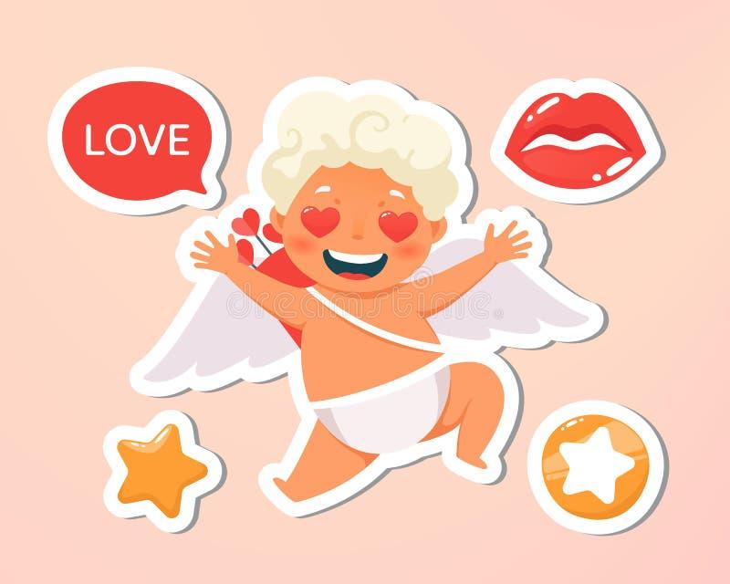 ano novo feliz 2007 Feriado, evento, casamento, letra festiva Voo feliz bonito do cupido nas nuvens Terra arrendada loura do anjo ilustração royalty free