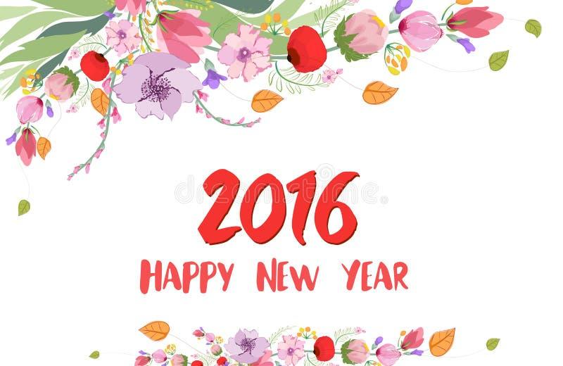 Ano novo feliz 2016 Flor selvagem da aquarela ilustração royalty free
