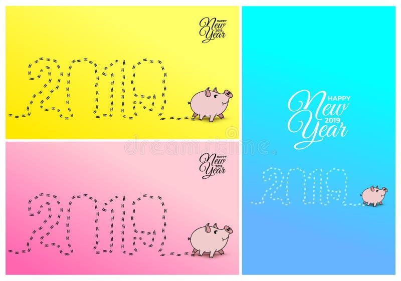 Ano novo feliz 2019 Fuga do passeio das cópias 2019 do porco Cartão chinês do ano novo Ilustração do vetor Isolado no amarelo, p ilustração stock