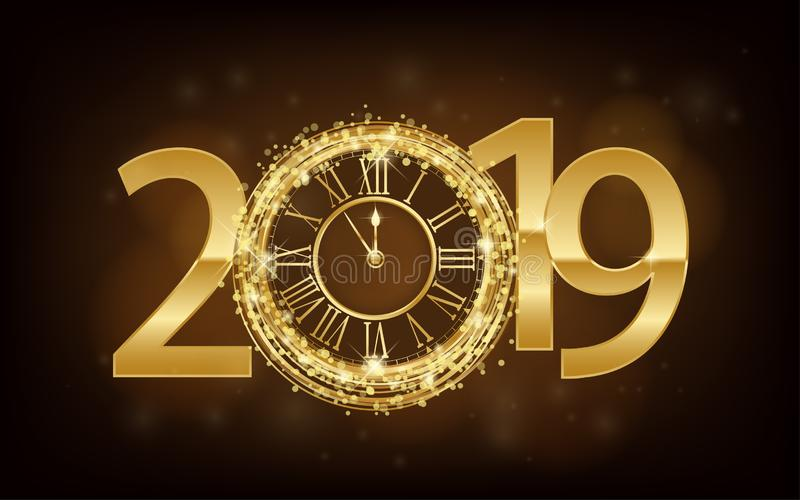 Ano novo feliz 2019 - fundo de brilho do ano novo com pulso de disparo e brilho do ouro ilustração royalty free