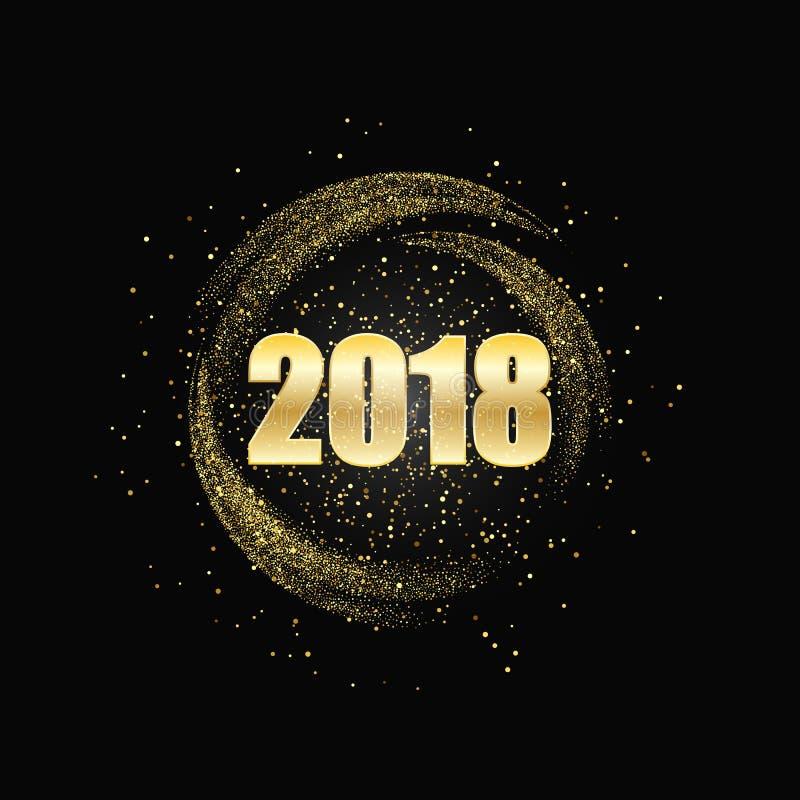 Ano novo feliz 2018 Fundo do brilho do ouro ilustração royalty free