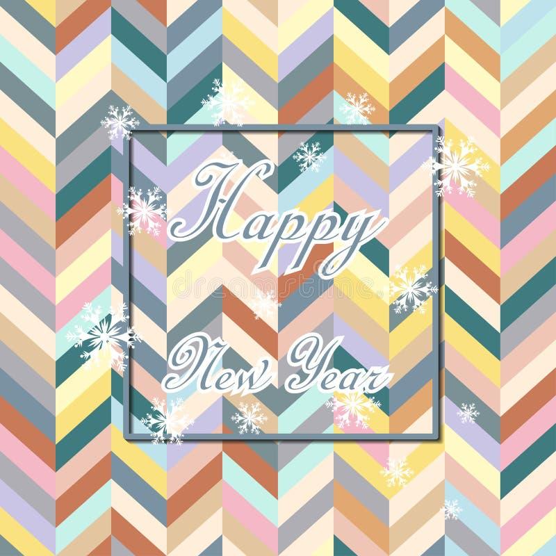 Ano novo feliz Fundo do feriado de Chevron Projeto decorativo para o cartão, bandeira, cumprimento, decoração do vintage Símbolo  ilustração stock