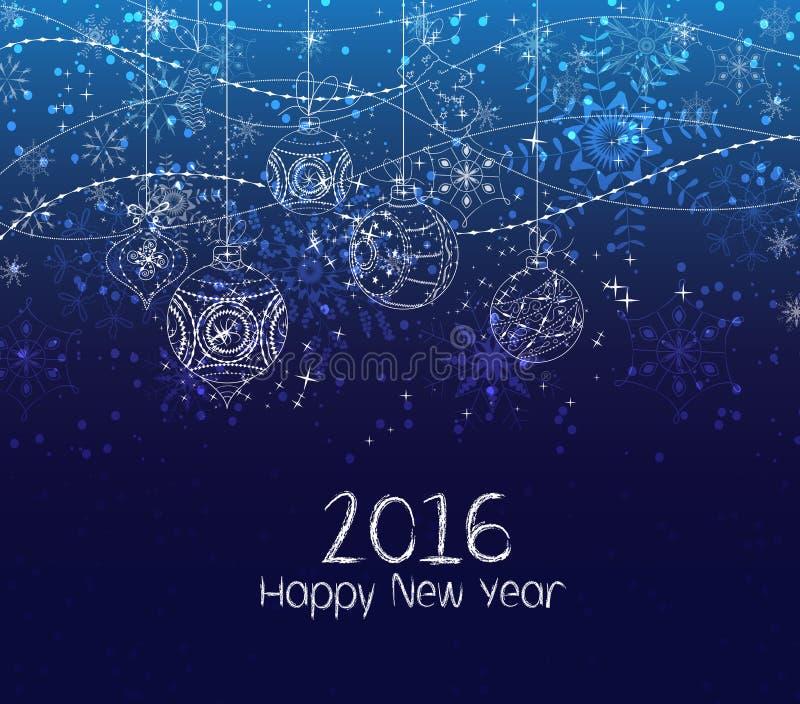 Ano novo feliz 2016, fundo do Natal do inverno com bolas ilustração royalty free