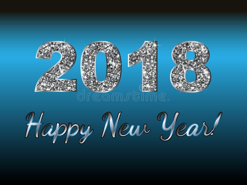 Ano novo feliz 2018 Fundo do vetor Elementos tipográficos dos desejos e do feriado de inverno no fundo escuro Ilustração FO do cu ilustração stock
