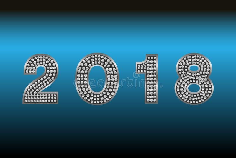 Ano novo feliz 2018 Fundo do vetor Elementos tipográficos dos desejos e do feriado de inverno no fundo escuro Ilustração FO do cu ilustração do vetor