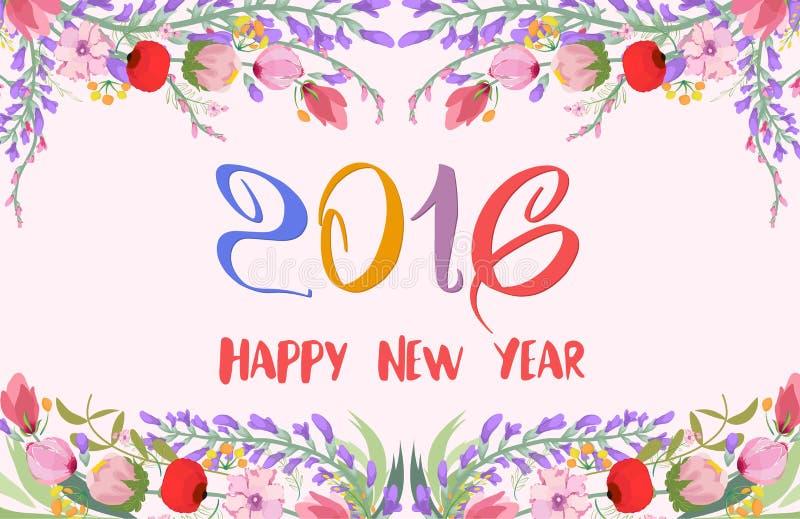 Ano novo feliz 2016 Fundo dos wildflowers da aquarela ilustração stock