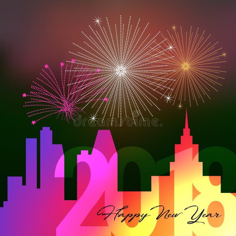 Ano novo feliz 2018, fundo grande da cidade da noite com saudação, ilustração do vetor