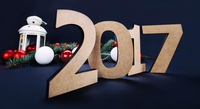 Ano novo feliz 2017, fundo preto foto de stock royalty free