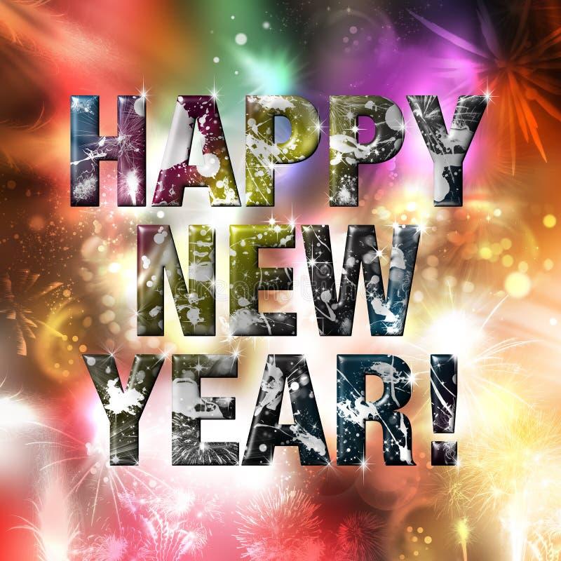 Ano novo feliz! Fundo vívido ilustração stock