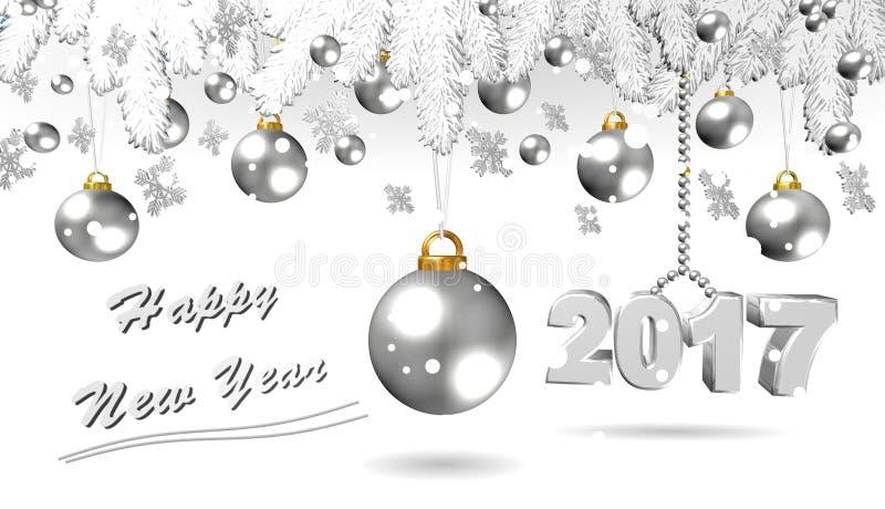 Ano novo feliz, ilustração 3D de prata fotos de stock