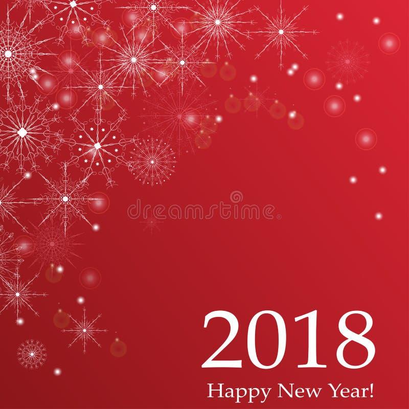 Ano novo feliz ilustração do cumprimento do vetor do projeto de rotulação de 2018 feriados ilustração royalty free