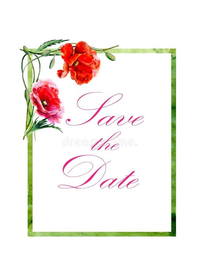ano novo feliz 2007 Ilustração tirada mão da aguarela Quadro retangular com flores angulares das papoilas ilustração stock
