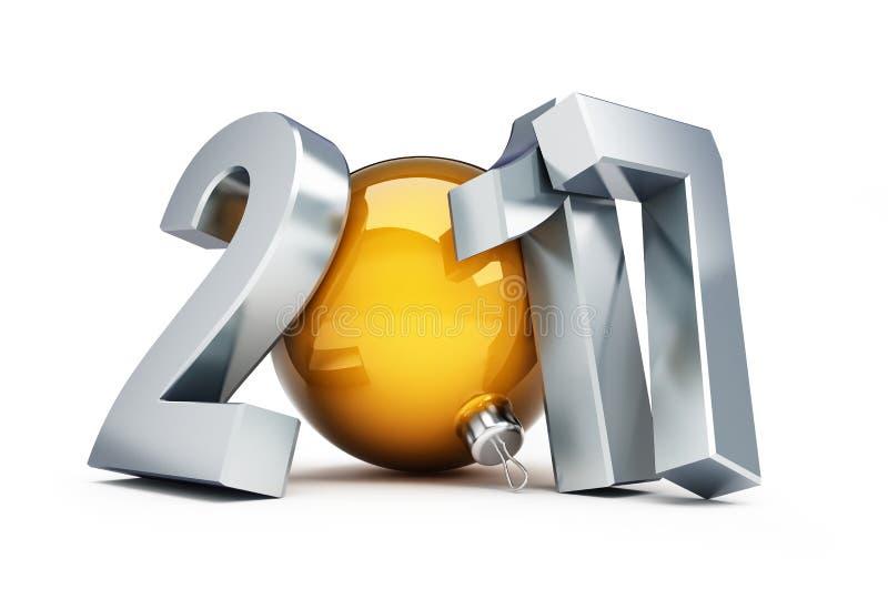 Ano novo feliz 2017 ilustrações 3D ilustração royalty free