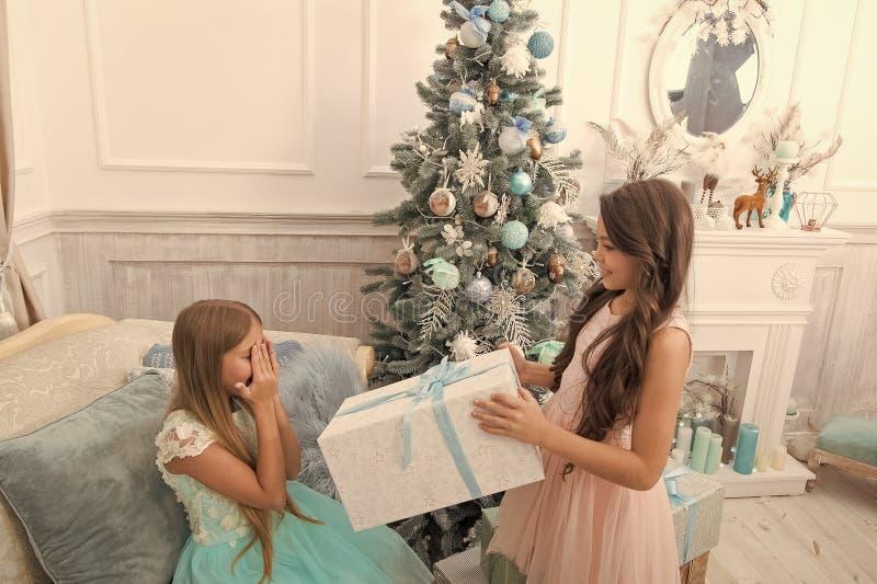 Ano novo feliz Inverno ?rvore e presentes de Natal compra em linha do xmas Feriado da fam?lia A manh? antes do Xmas imagens de stock