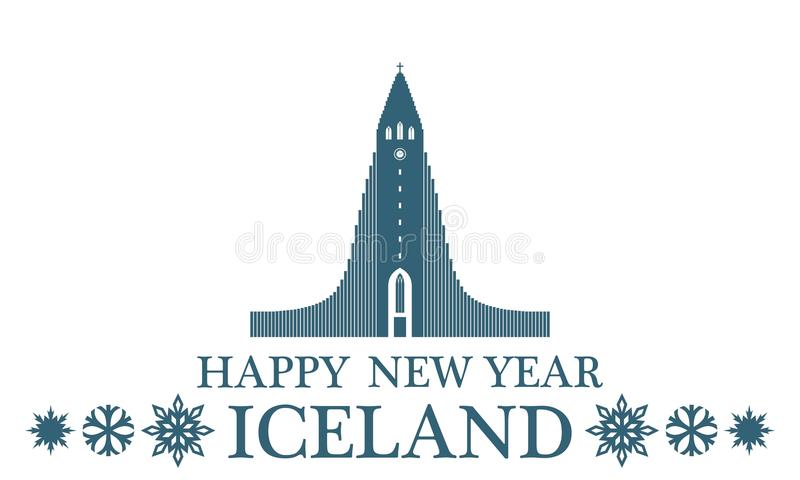 Ano novo feliz Islândia ilustração royalty free