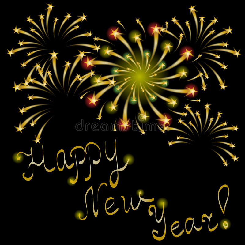 Ano novo feliz! Letras e fogos-de-artifício escritos à mão dourados no preto Fundo festivo Fogos-de-artifício estrelados cintilan ilustração royalty free